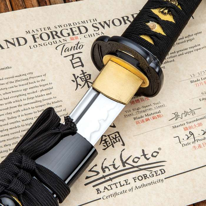 """Shikoto Longquan Master Tanto With Scabbard- T10 High Carbon Steel, Hammer Forged, Clay Tempered, Tea-Dyed Rayskin - Length 20"""""""