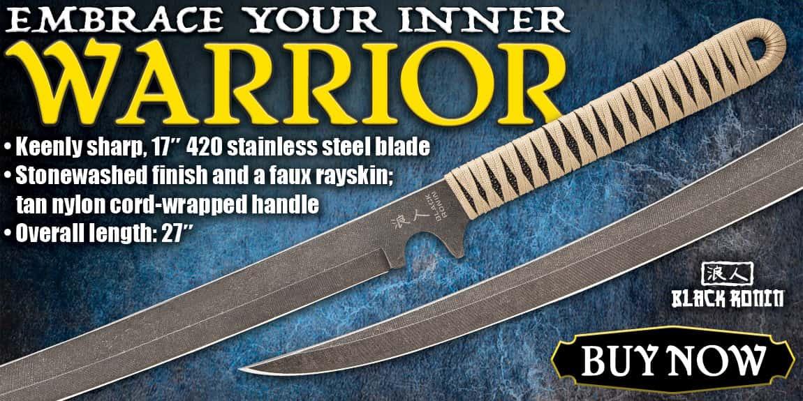 Black Ronin Tan Combat Wakizashi Sword