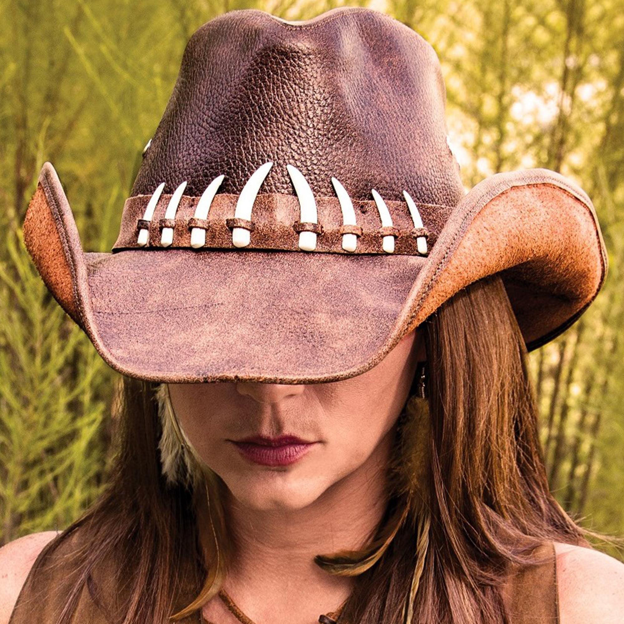Outback Crocodile Survivor Hat - Genuine Weathered Leather, Shapeable Brim,  Faux Crocodile Teeth Accents, Inside Elastic Band