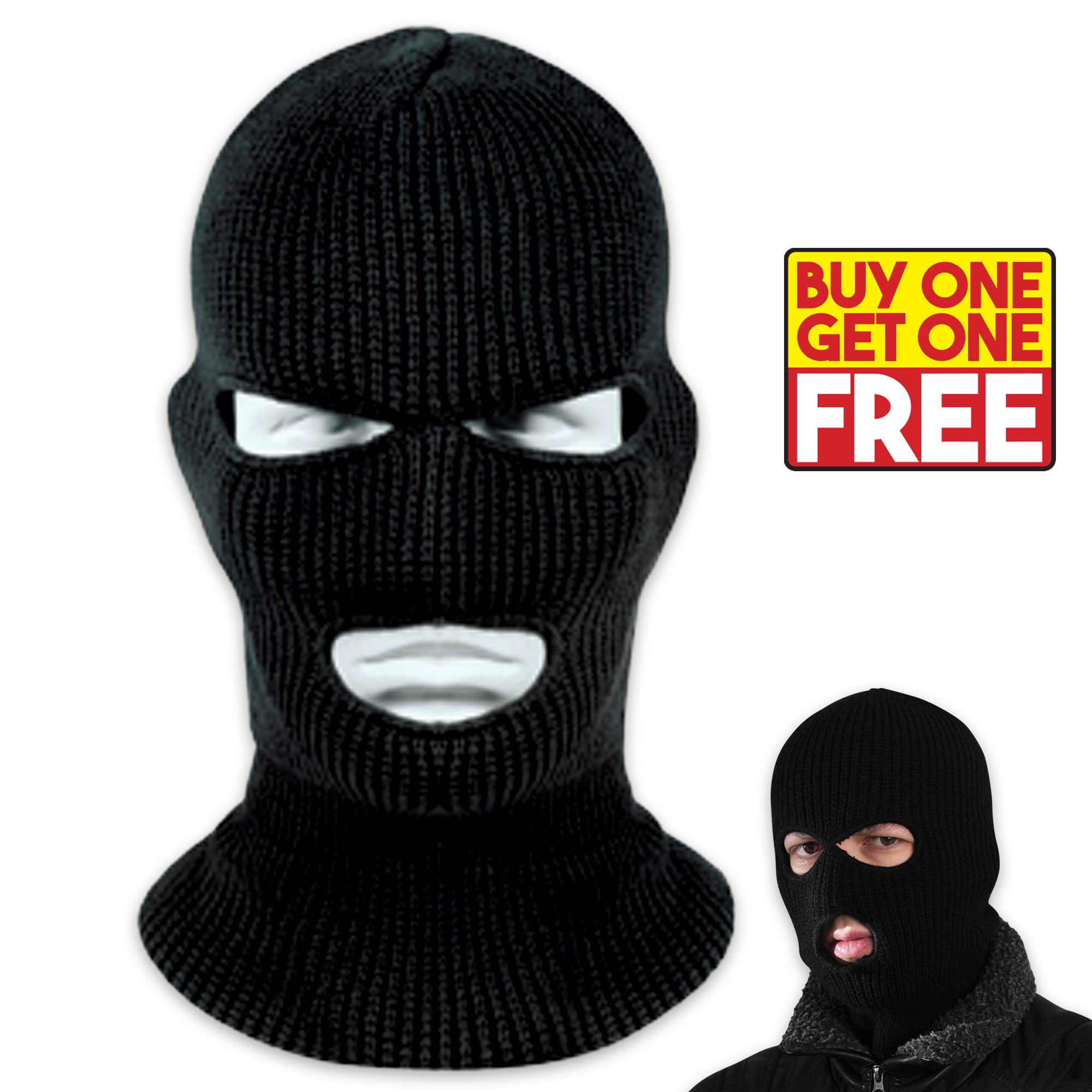 Knit Acrylic Ski Mask   3-Hole Facemask - Black - BOGO  0924596601a5