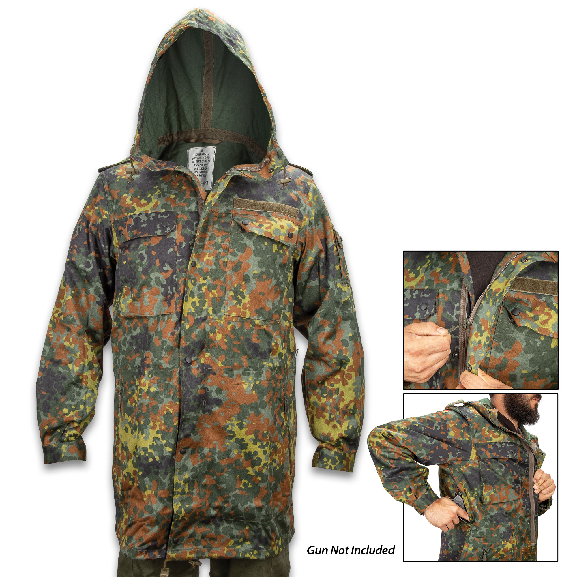 9d59fc5c38192 German Military Flectarn Camo Parka With Hood - New, Cotton And ...