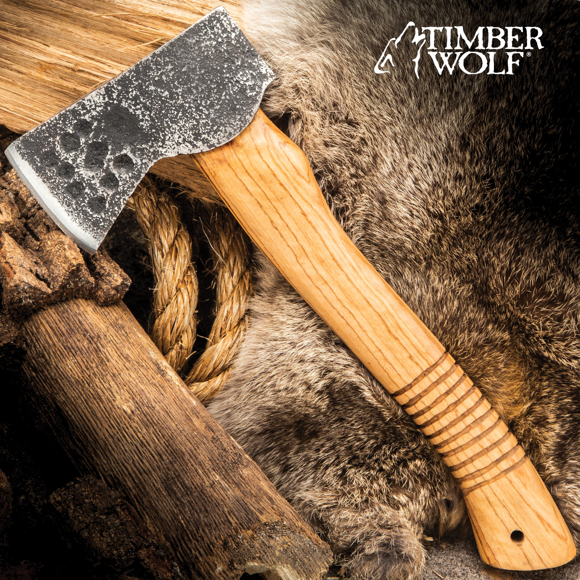 Timber Wolf Forged Carbon Bushcraft Axe - Carbon Steel Head
