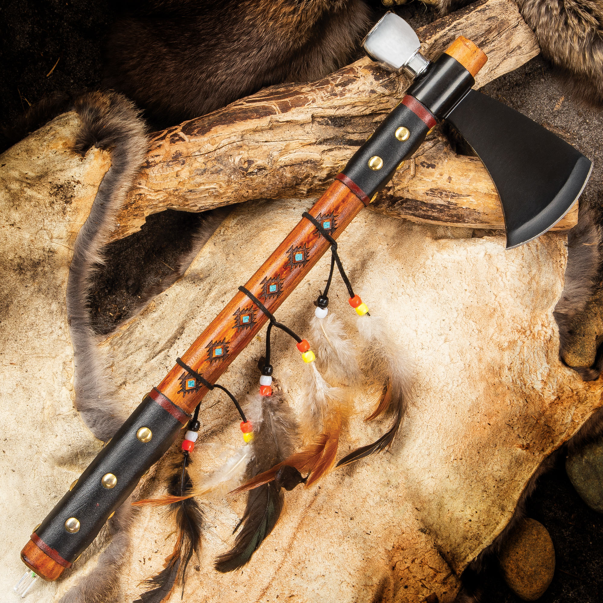 Southwestern Tomahawk Peace Pipe - Stainless Steel Head With