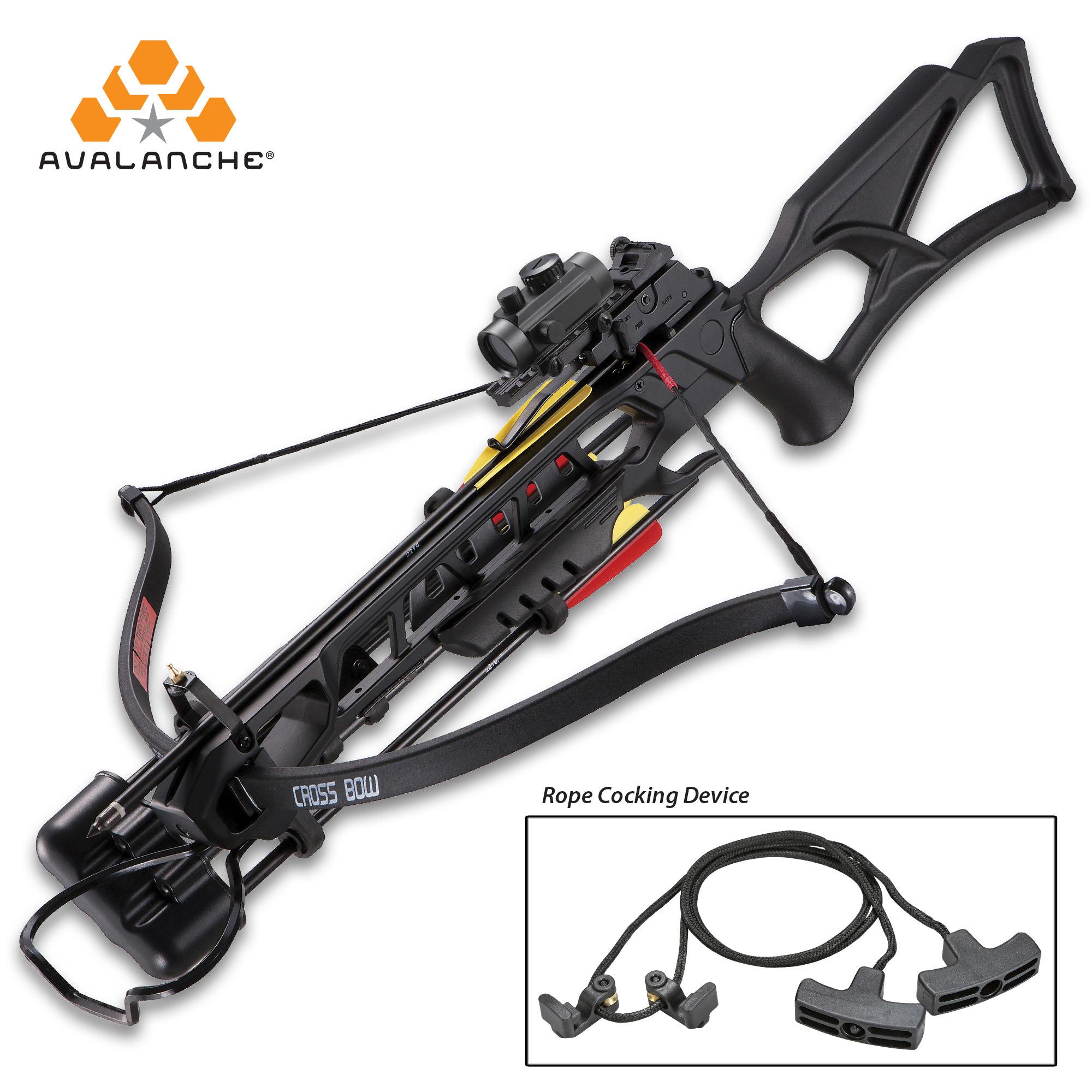 Avalanche Anaconda Recurve Black Crossbow - Composite Stock, 175-LB Draw,  245 FPS, Red-Dot Scope, Picatinny Rail
