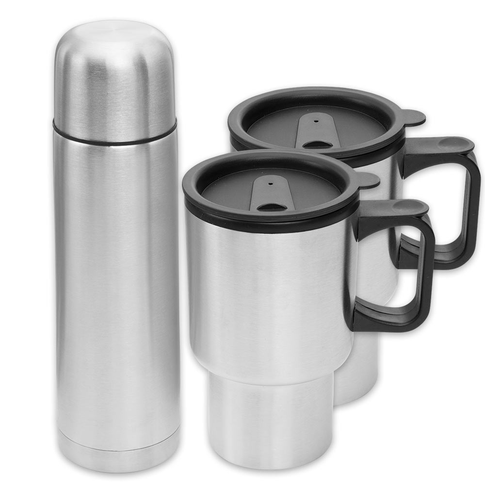 finelife stainless steel travel mug set 4 piece kennesaw cutlery. Black Bedroom Furniture Sets. Home Design Ideas