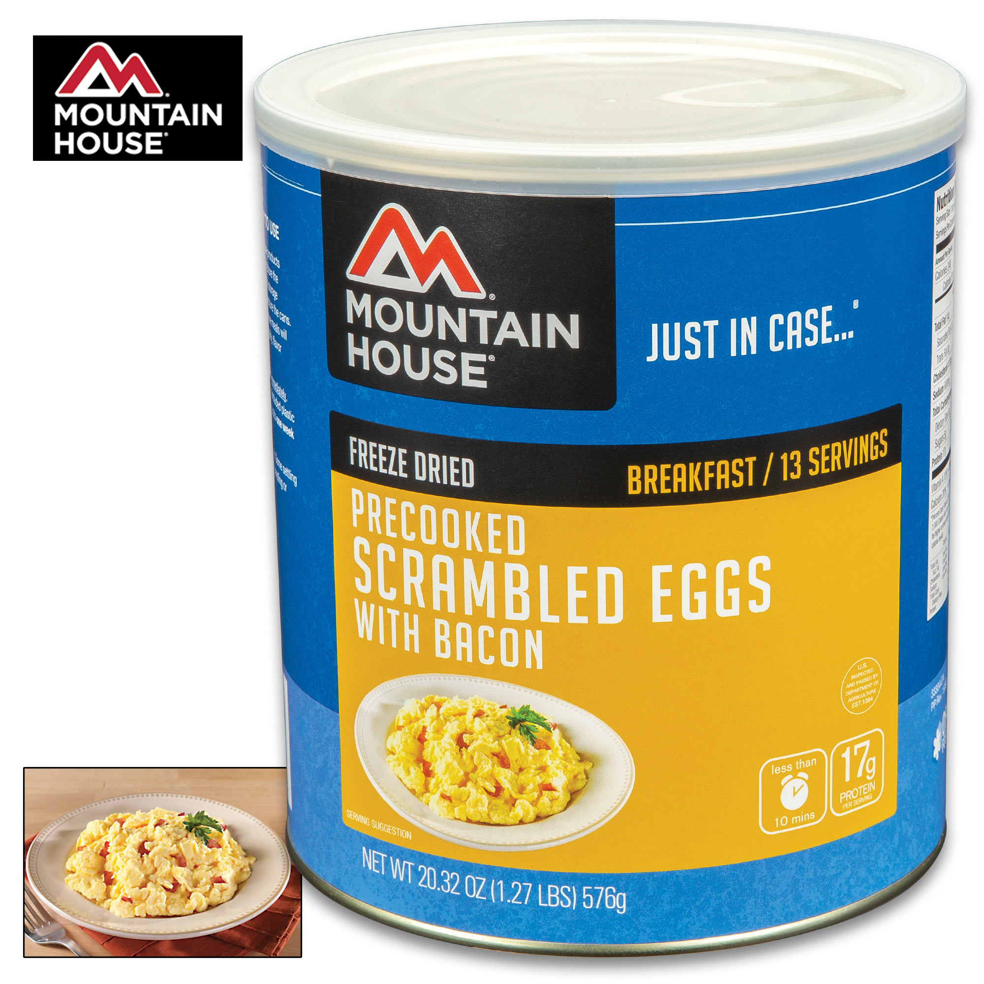 Canned Scrambled Eggs: Mountain House Scrambled Eggs With Bacon Can 16 Servings