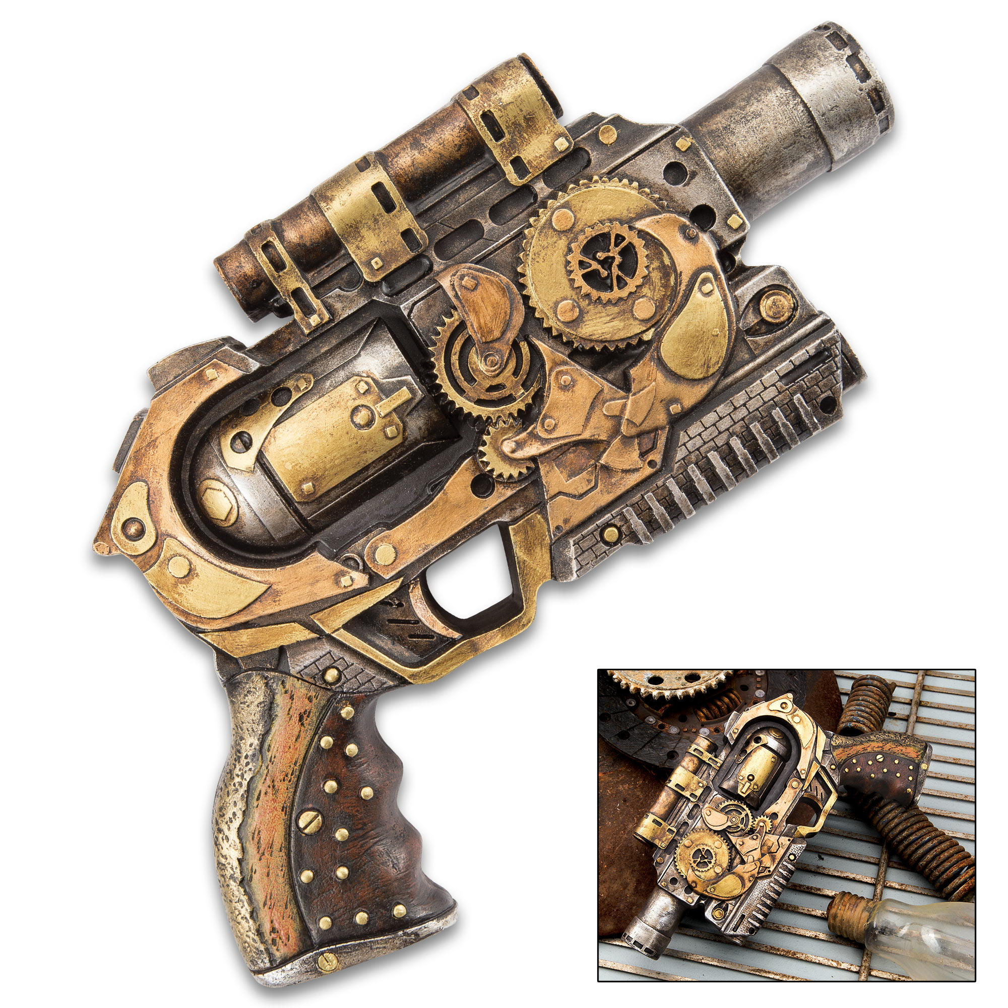 Quantum Cannon Steampunk Display Revolver Polyresin Sculpture Home Office Decor Mantle