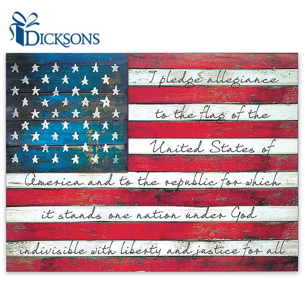 Pledge Of Allegiance On Weathered American Flag Rustic