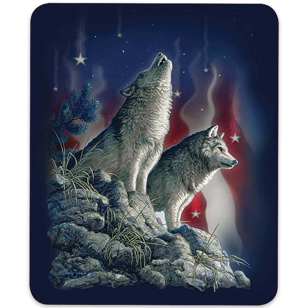 American Flag Wolves Pattern Queen Size Blanket Budk Com