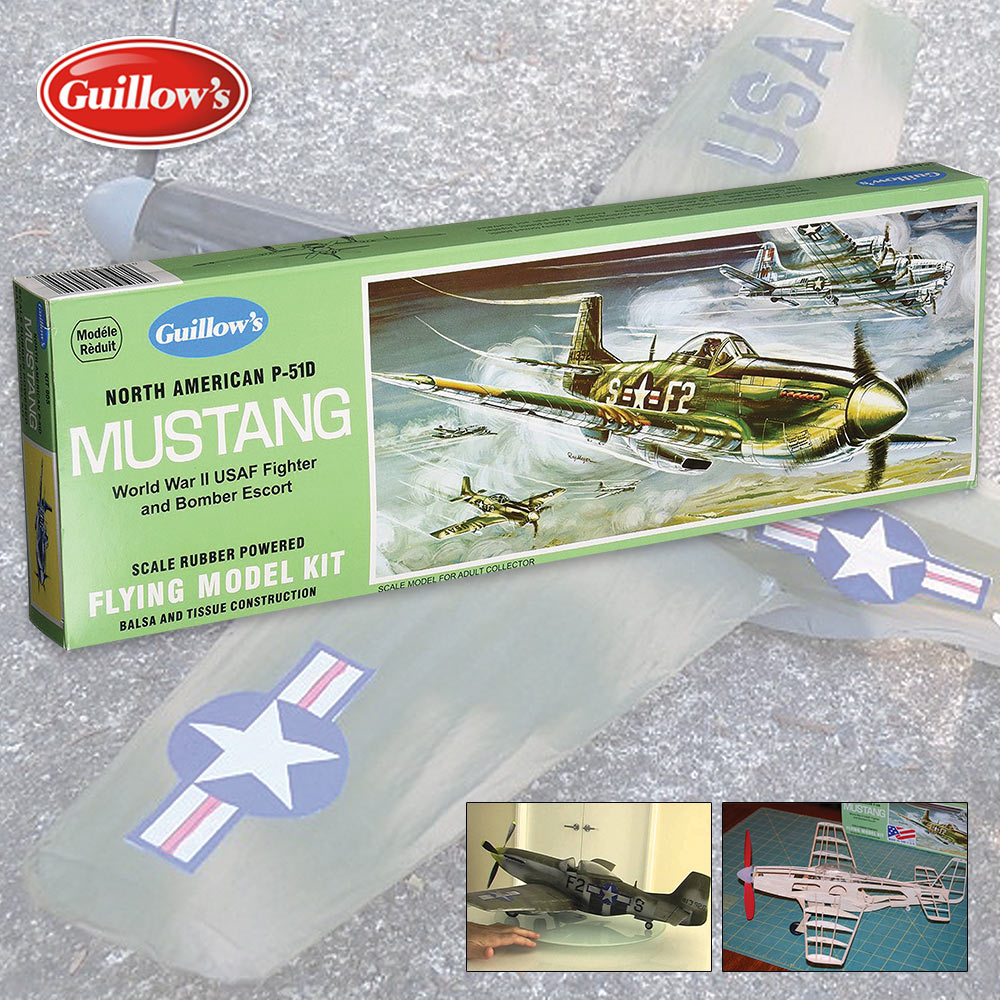Guillows P-51D Mustang Balsa Wood Model Airplane   BUDK com - Knives
