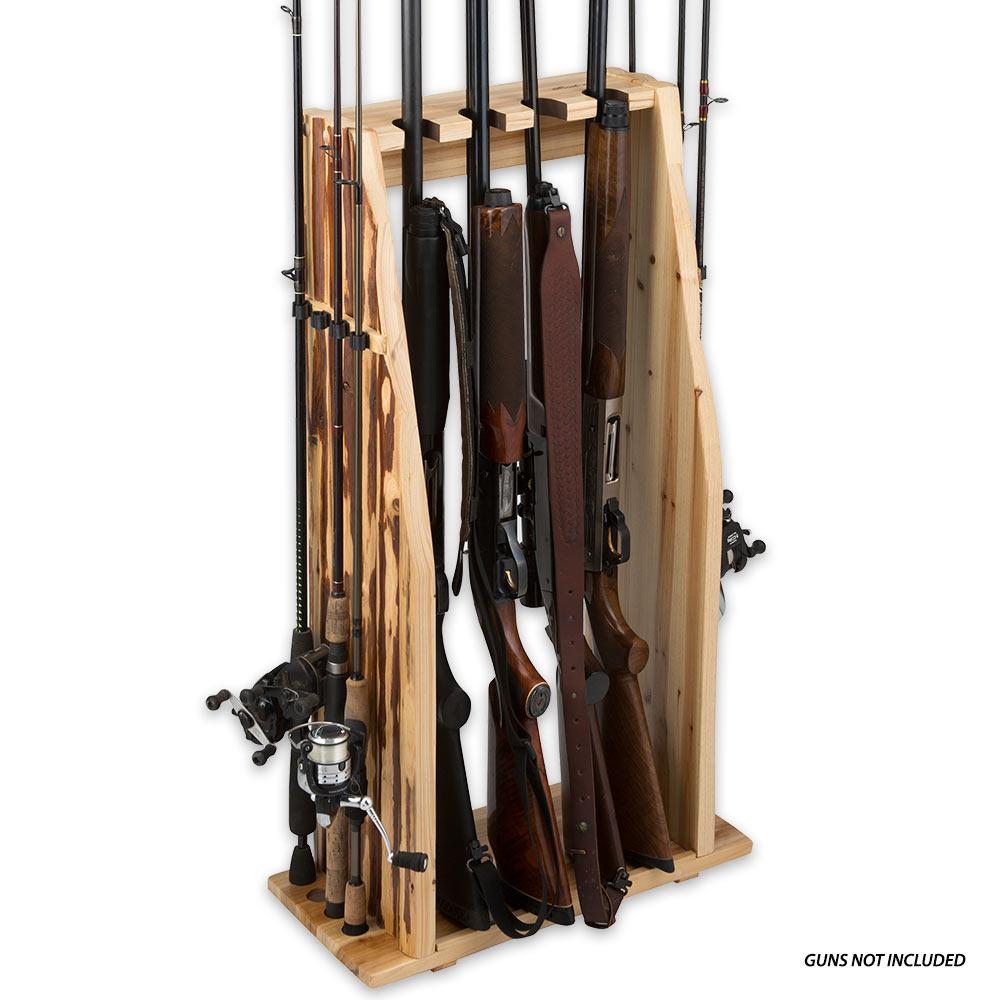 Rush creek gun and rod combo rack knives for Gun fishing rod