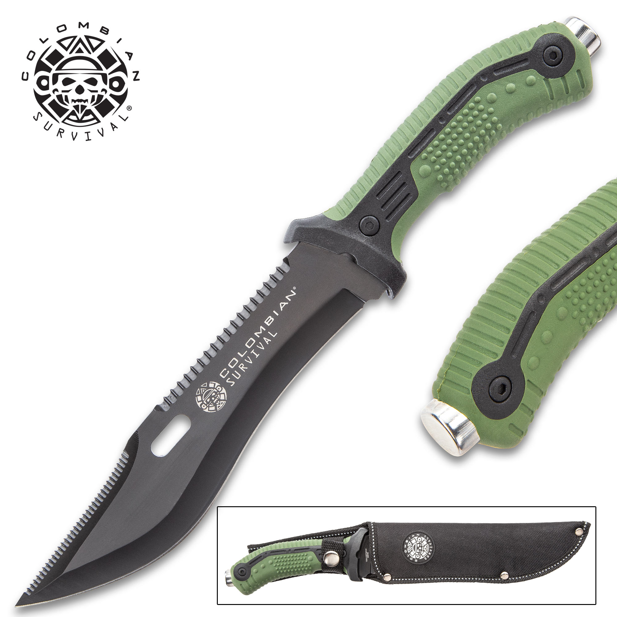Colombian Bogota Survival Fixed Blade Knife With Sheath - Stainless Steel  Blade, Serrations, Grippy TPR Handle - Length 12 7/10""