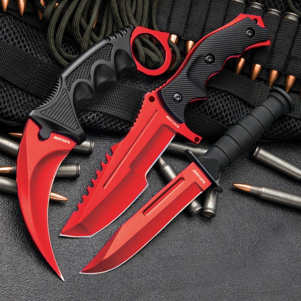 csgo counter strike red fixed blade knife set karambit huntsman combat knife autotronic. Black Bedroom Furniture Sets. Home Design Ideas