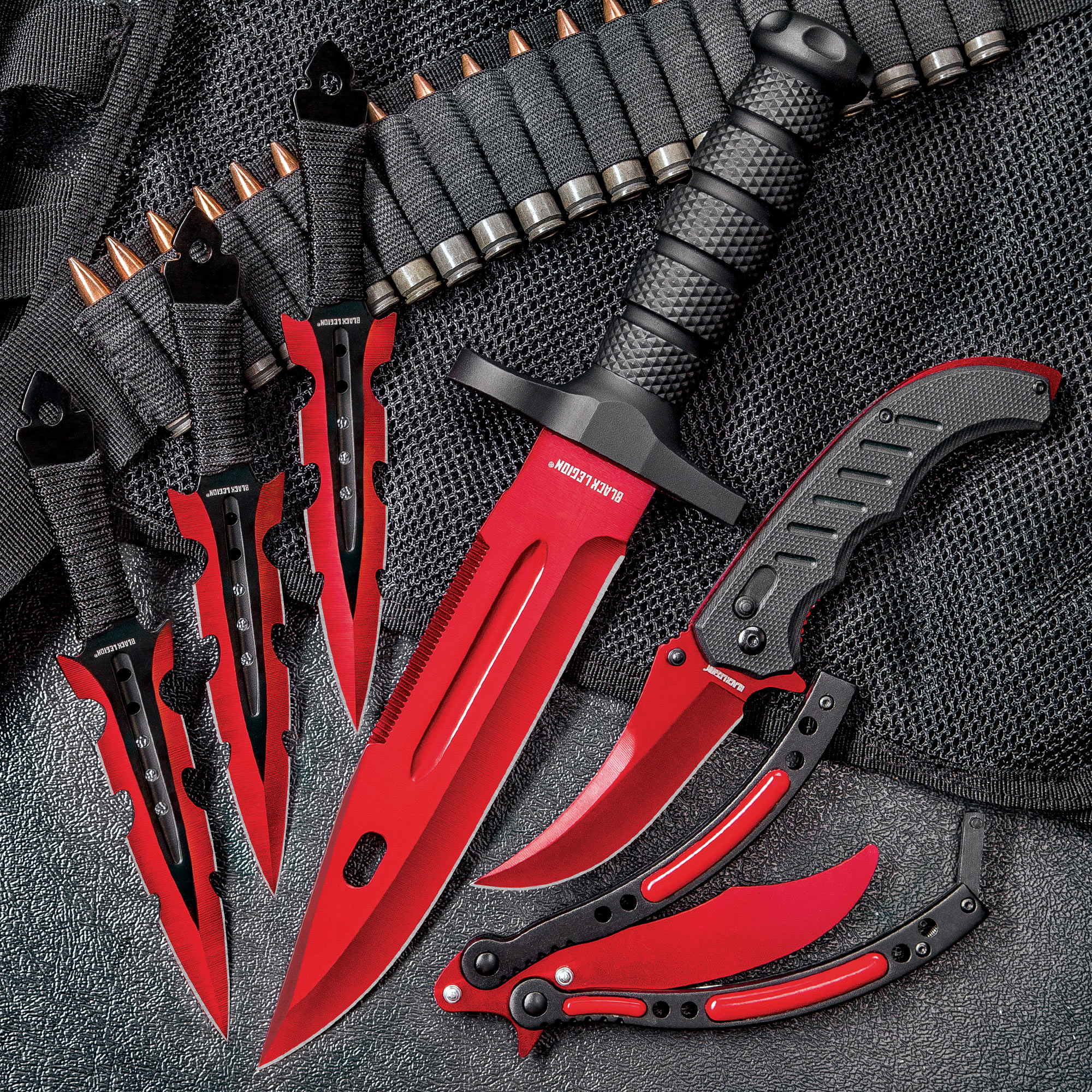 Black Legion Red Fury Knife Set - Stainless Steel Blades
