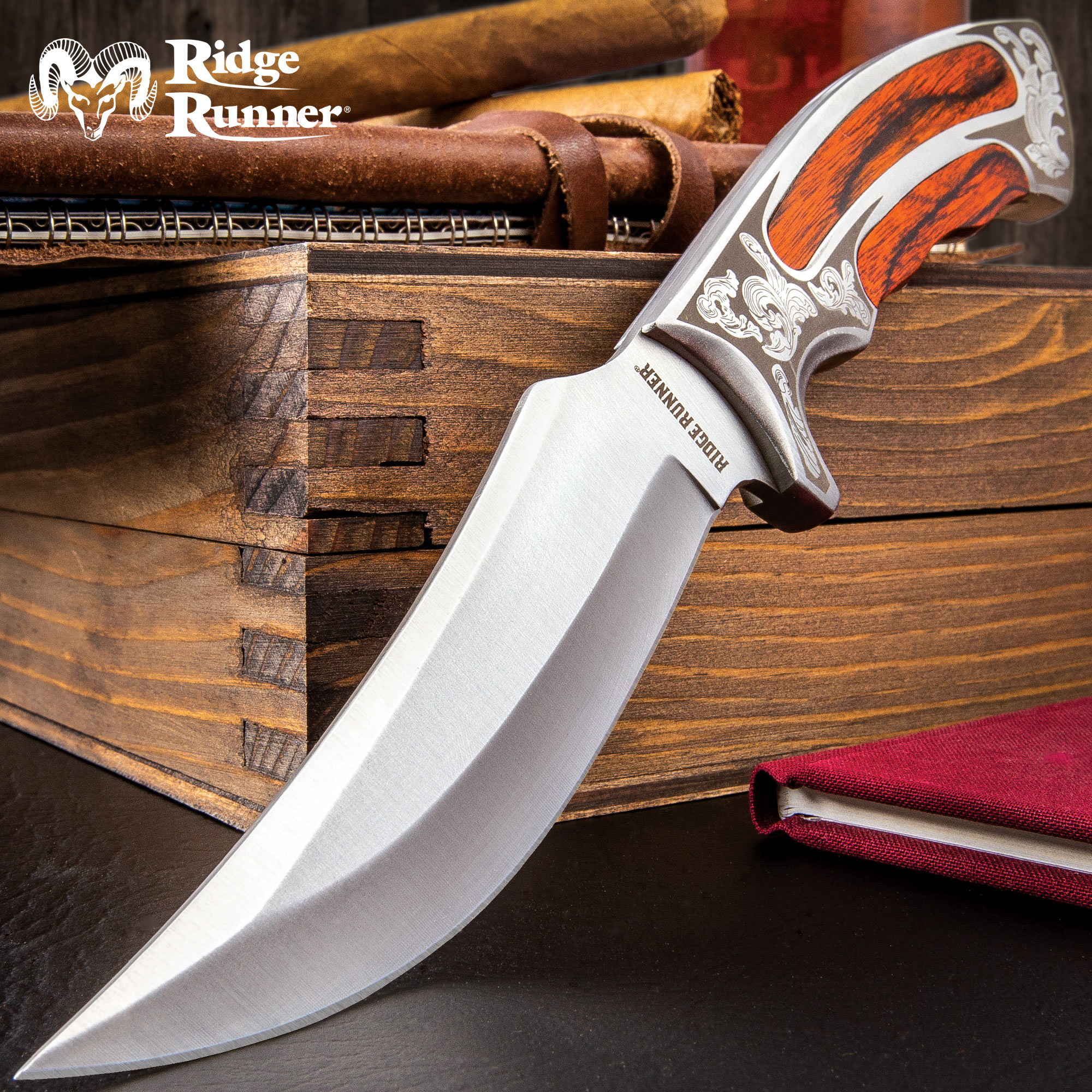 Ridge Runner Full Tang Executive Wooden Bowie Knife With