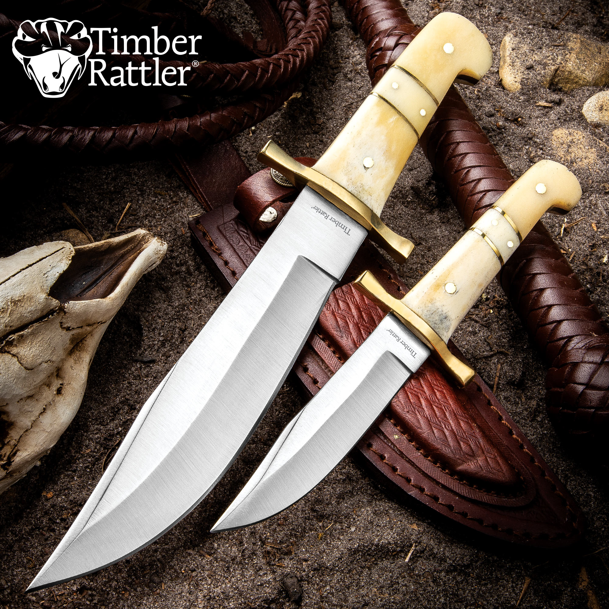 timber rattler camel bone bowie knife 2 knife set with leather
