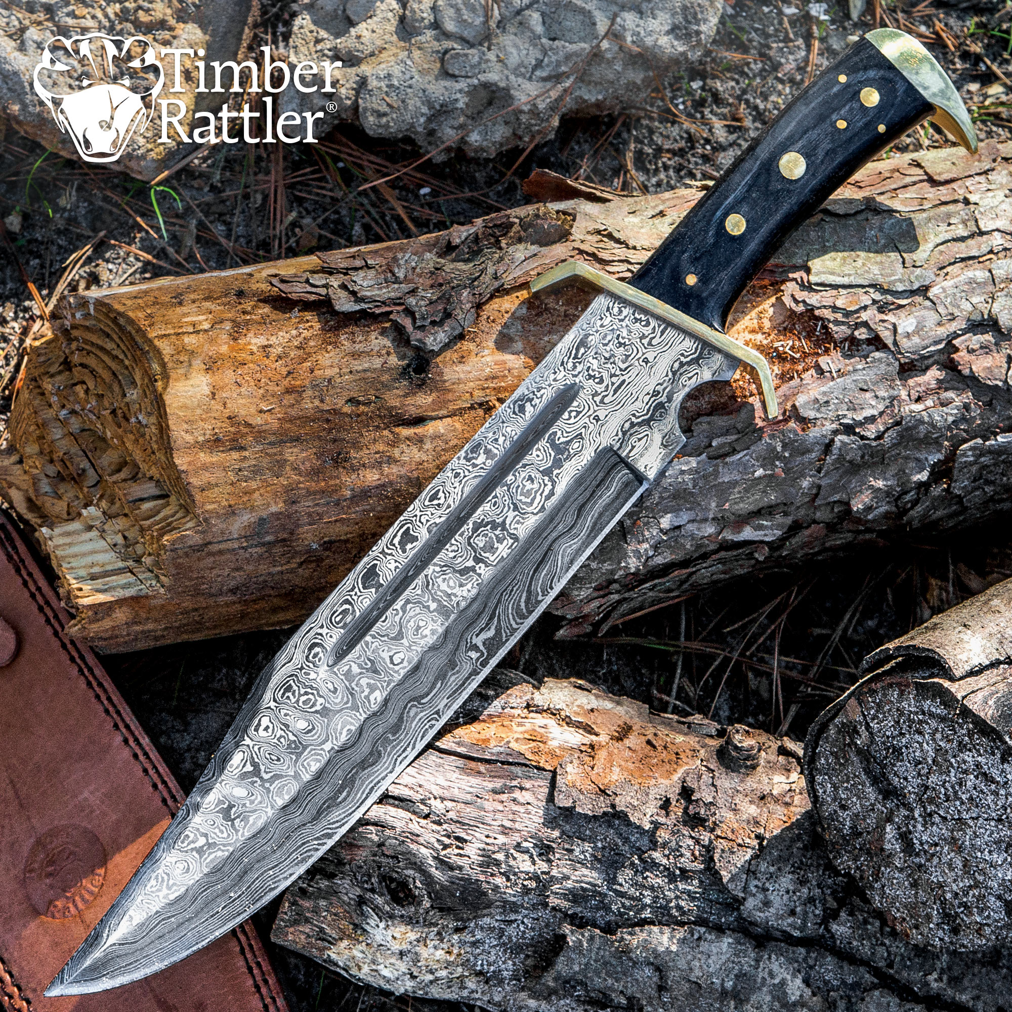 Timber Rattler Western Outlaw Damascus Bowie Knife Budk