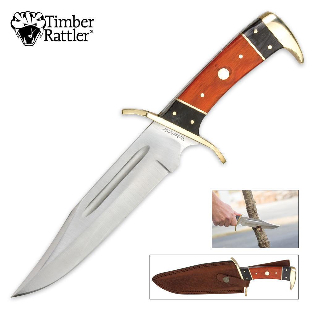timber rattler 12 inch dark pakka bowie knife knives swords at the lowest prices. Black Bedroom Furniture Sets. Home Design Ideas