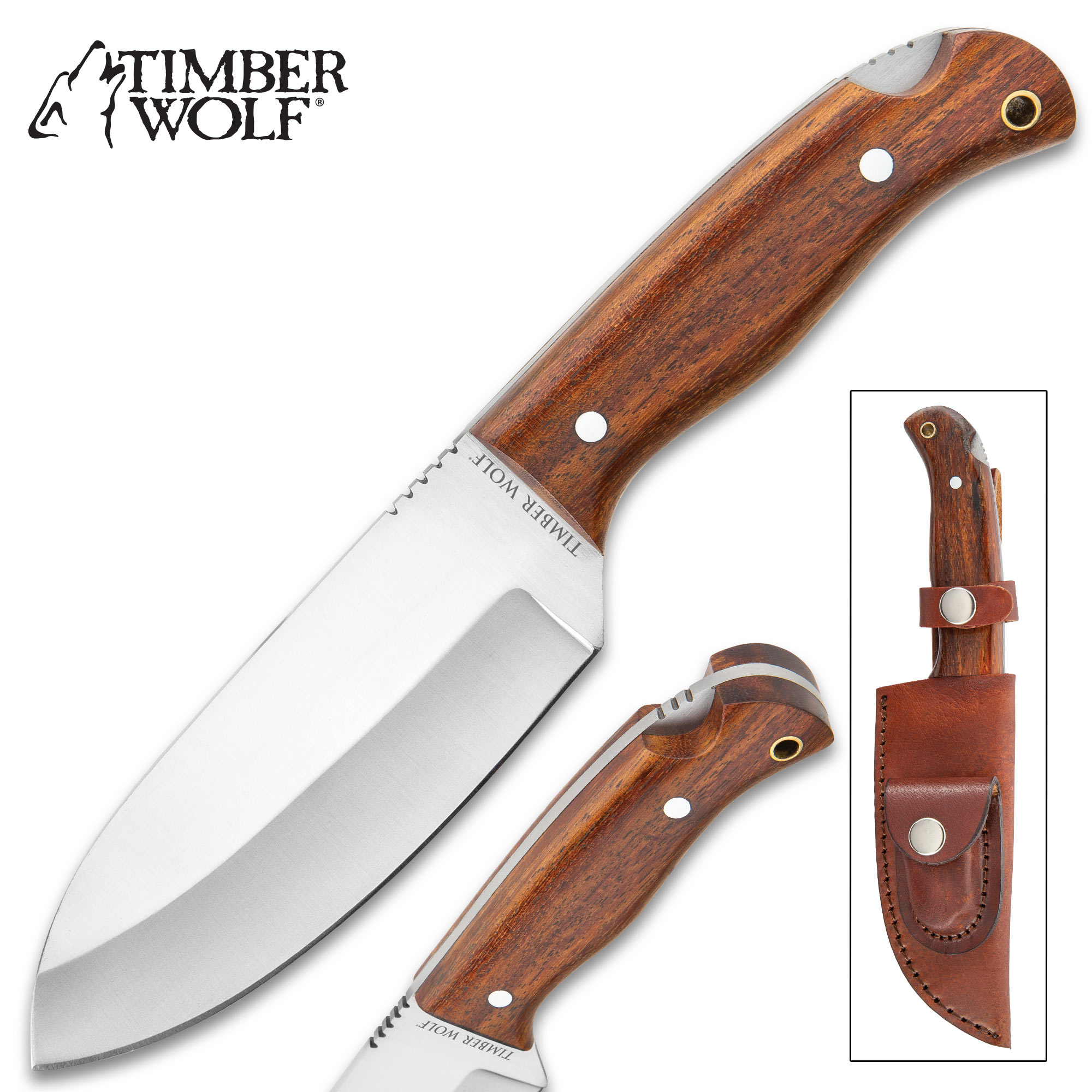 """Timber Wolf All-Terrain Knife With Sheath - Carbon Steel Blade, Full-Tang,  Wooden Handle, Stainless Steel Pins, Lanyard Hole - Length 9 1/4"""""""