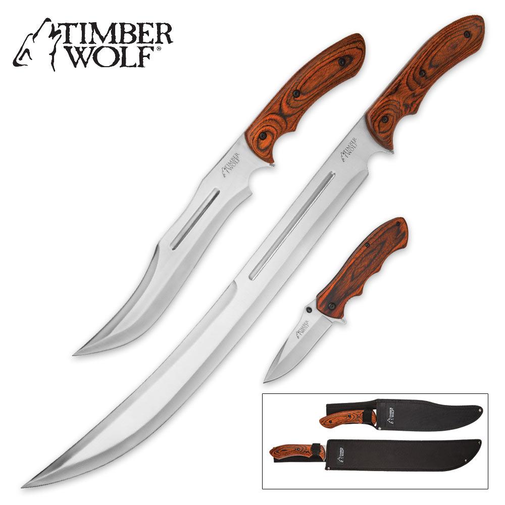 Timber Wolf Woodland Trident 3 Piece Knife Set Bowie