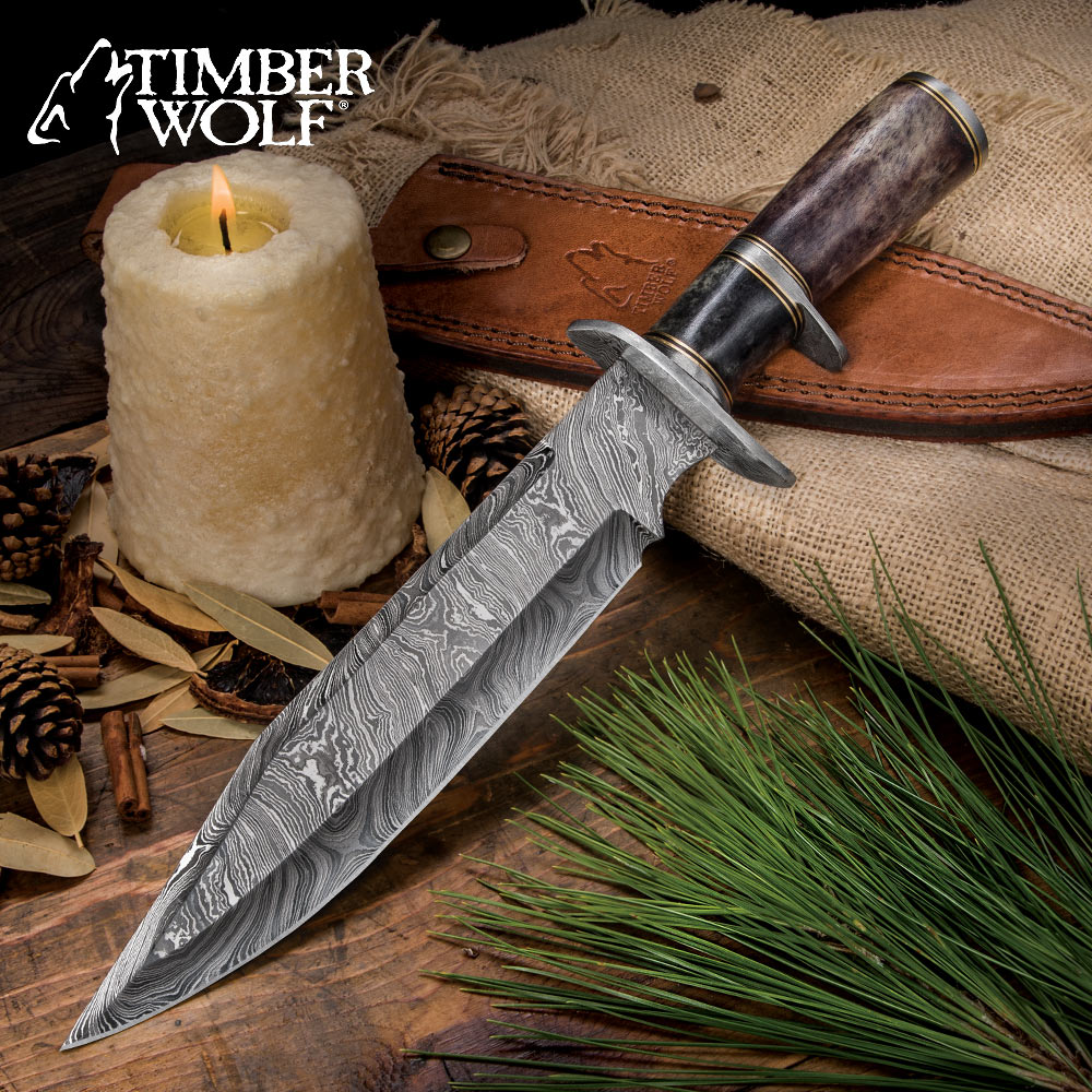 Timber Wolf Prairie Moon Damascus Bowie Knife With Genuine
