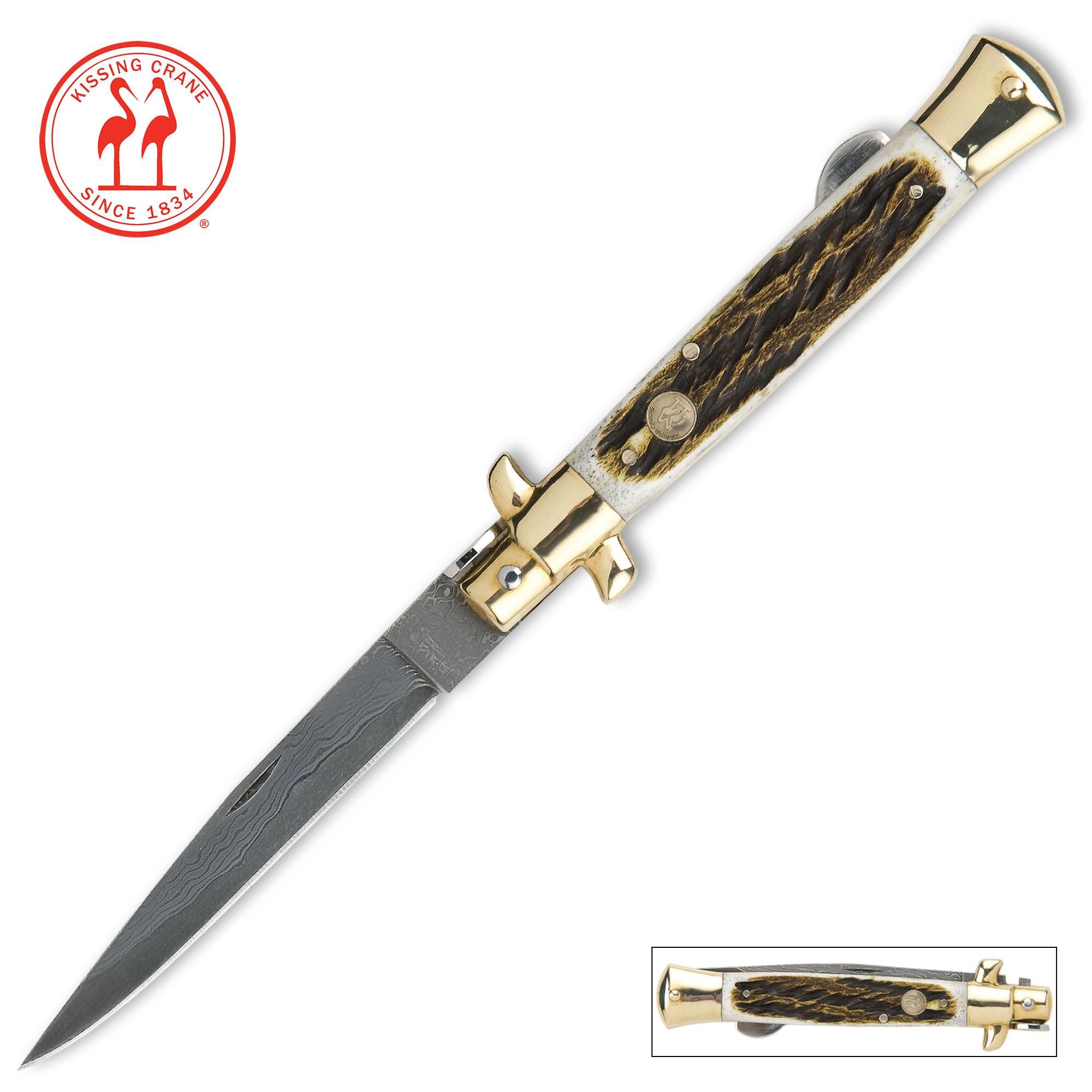 Kissing Crane Burnt Bone Stiletto Knife Damascus Blade