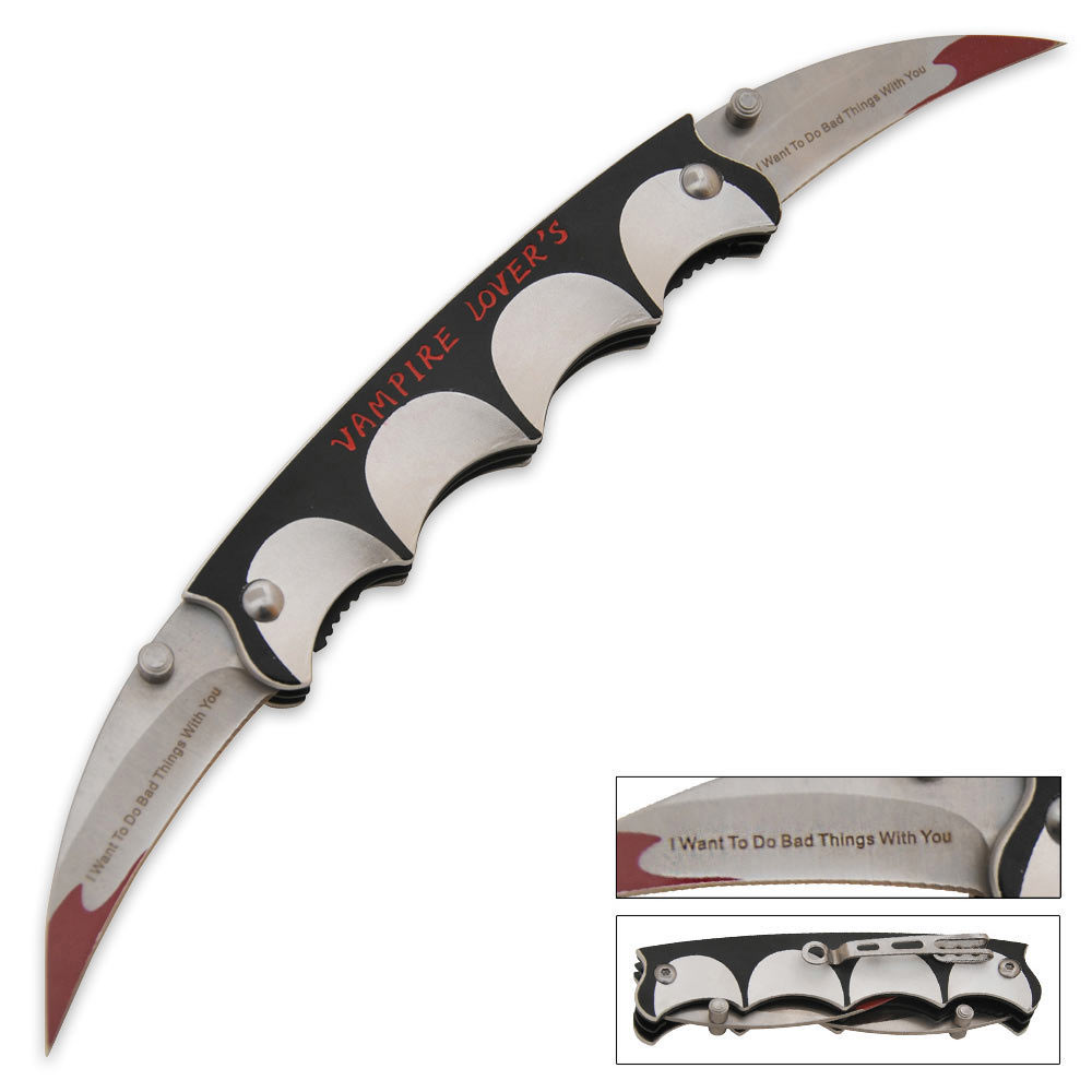 vampire love fang banger folder – double blade knife | true