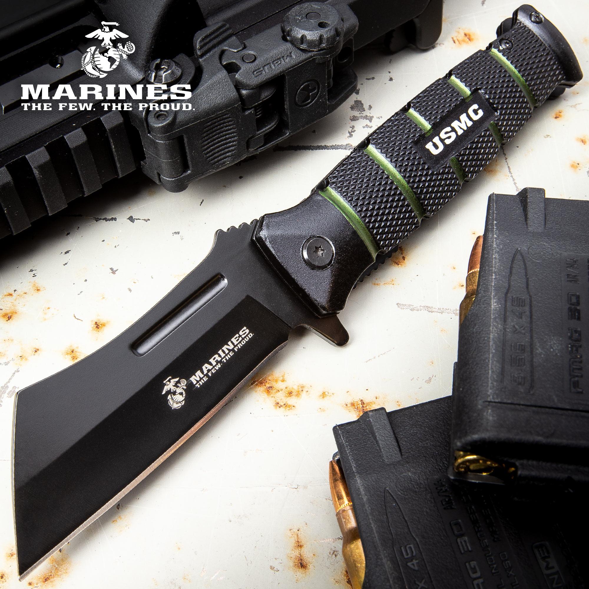 USMC Combat Cleaver Assisted Opening Pocket Knife