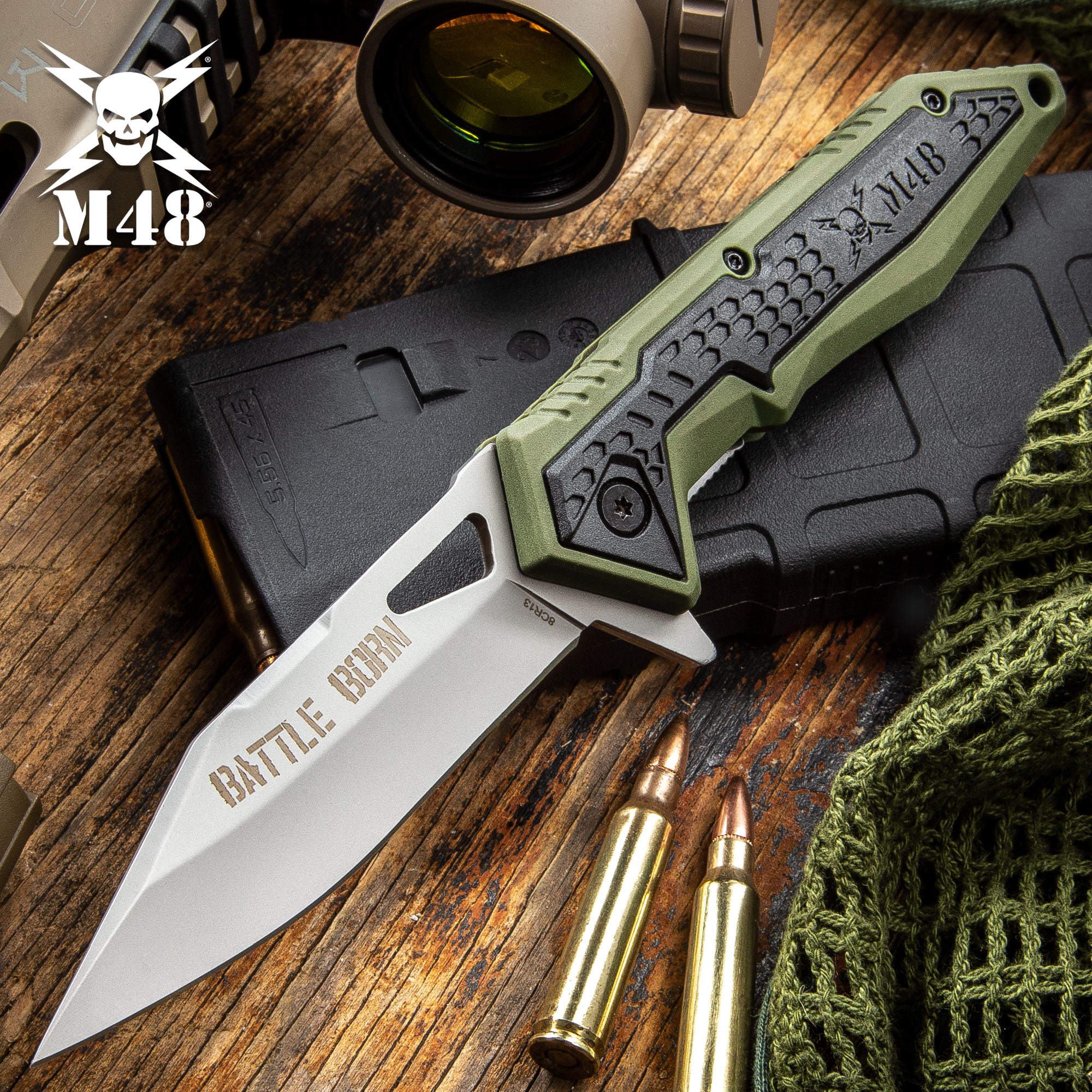 M48 Battle Born Pocket Knife - 8Cr13 Stainless Steel Blade, Olive Drab TPR  Handle Scales, Ball Bearing, Pocket Clip