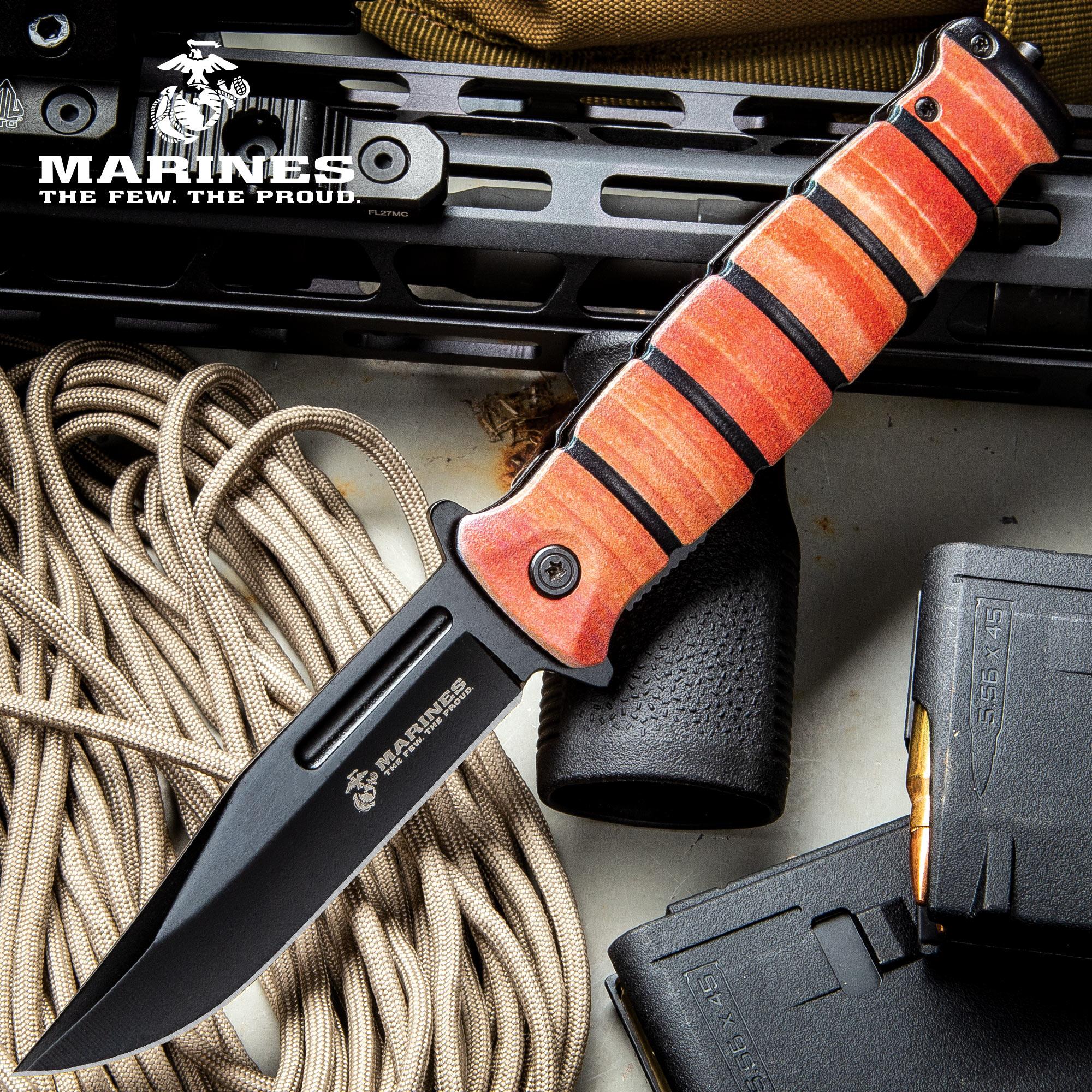 USMC Combat Fighter Pocket Knife - Stainless Steel Blade