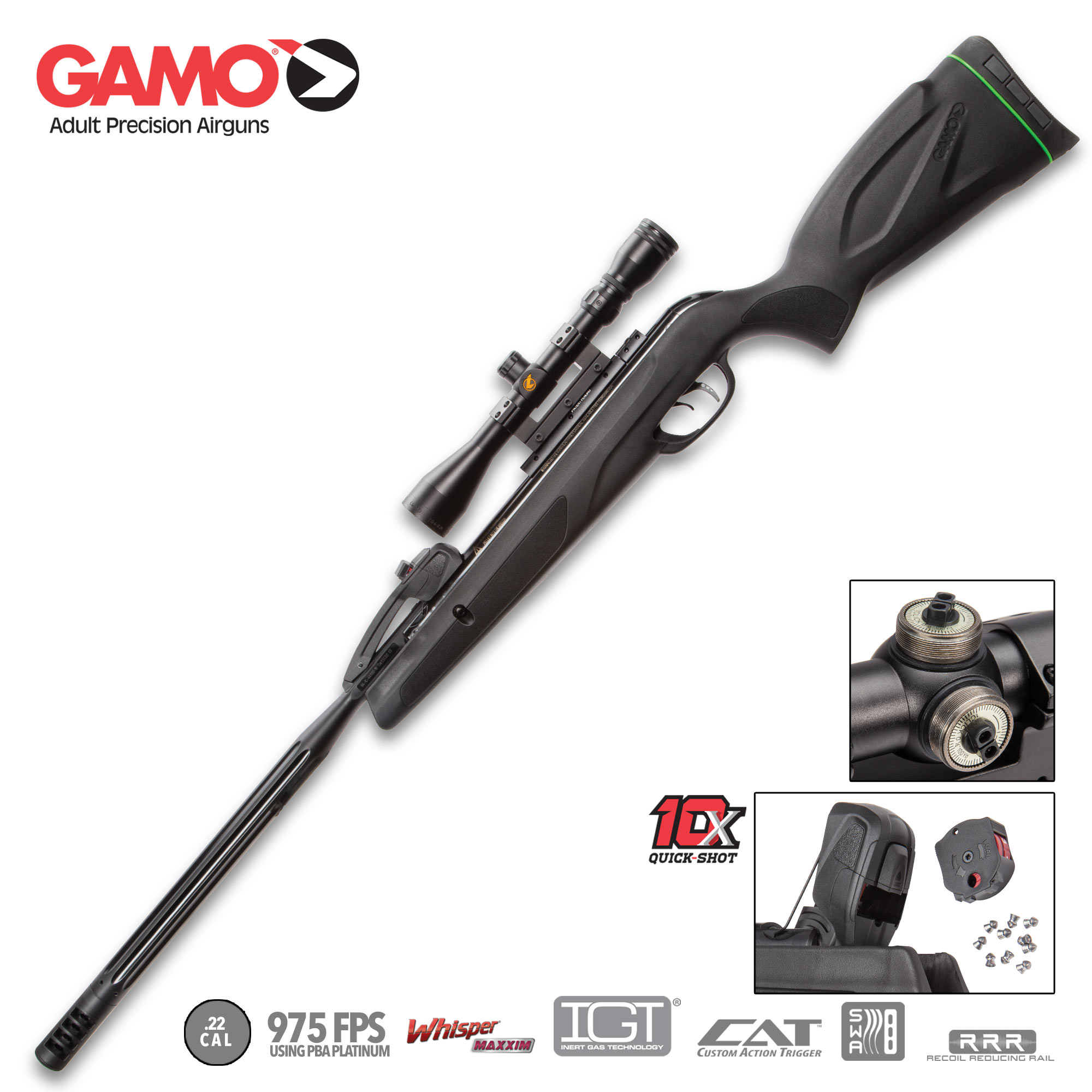 Gamo Swarm Maxxim  22 Caliber Air Rifle With Scope, 975 FPS