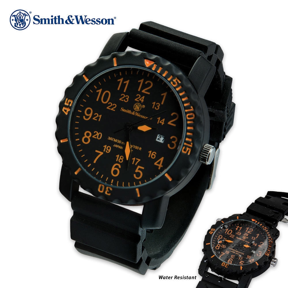 smith amp wesson military dive watch 44 mm case cutlery usa