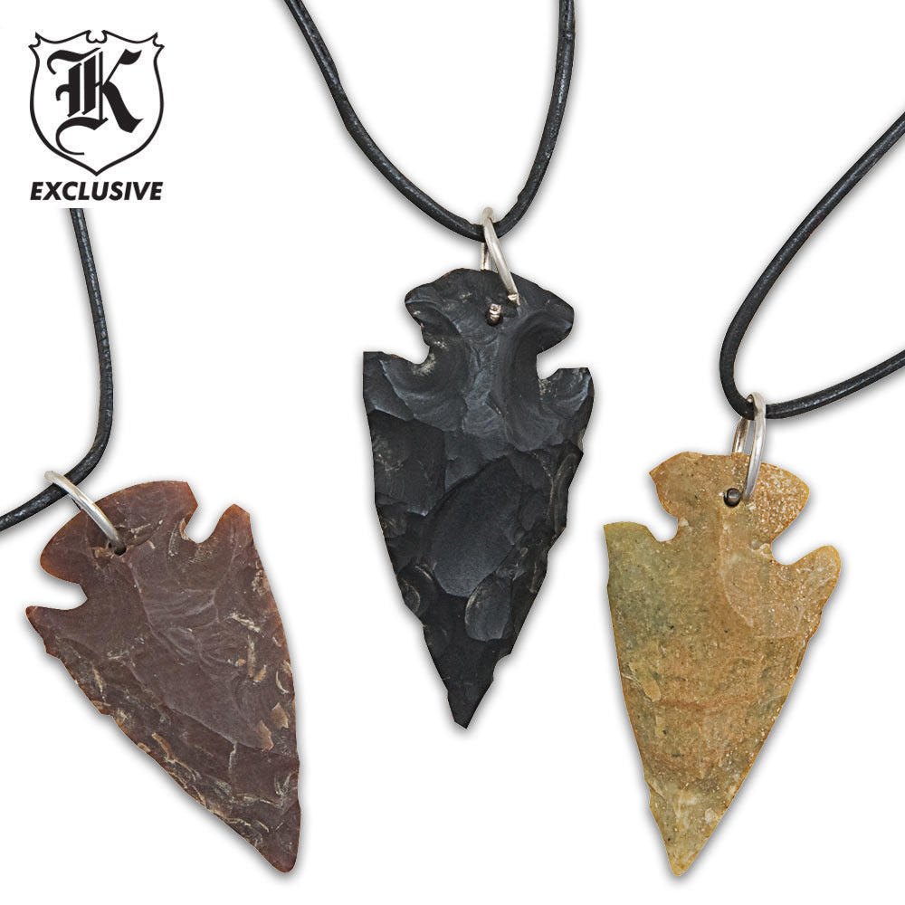 Handmade arrowhead necklaces 3 pack budk knives swords at hover to zoom aloadofball Choice Image
