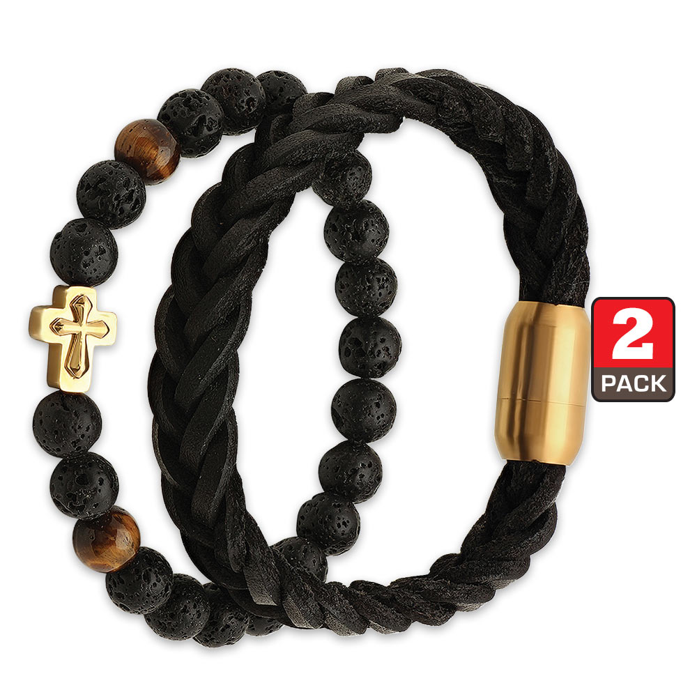 two piece bracelet set black braided genuine leather polished lava beads with gold cross. Black Bedroom Furniture Sets. Home Design Ideas