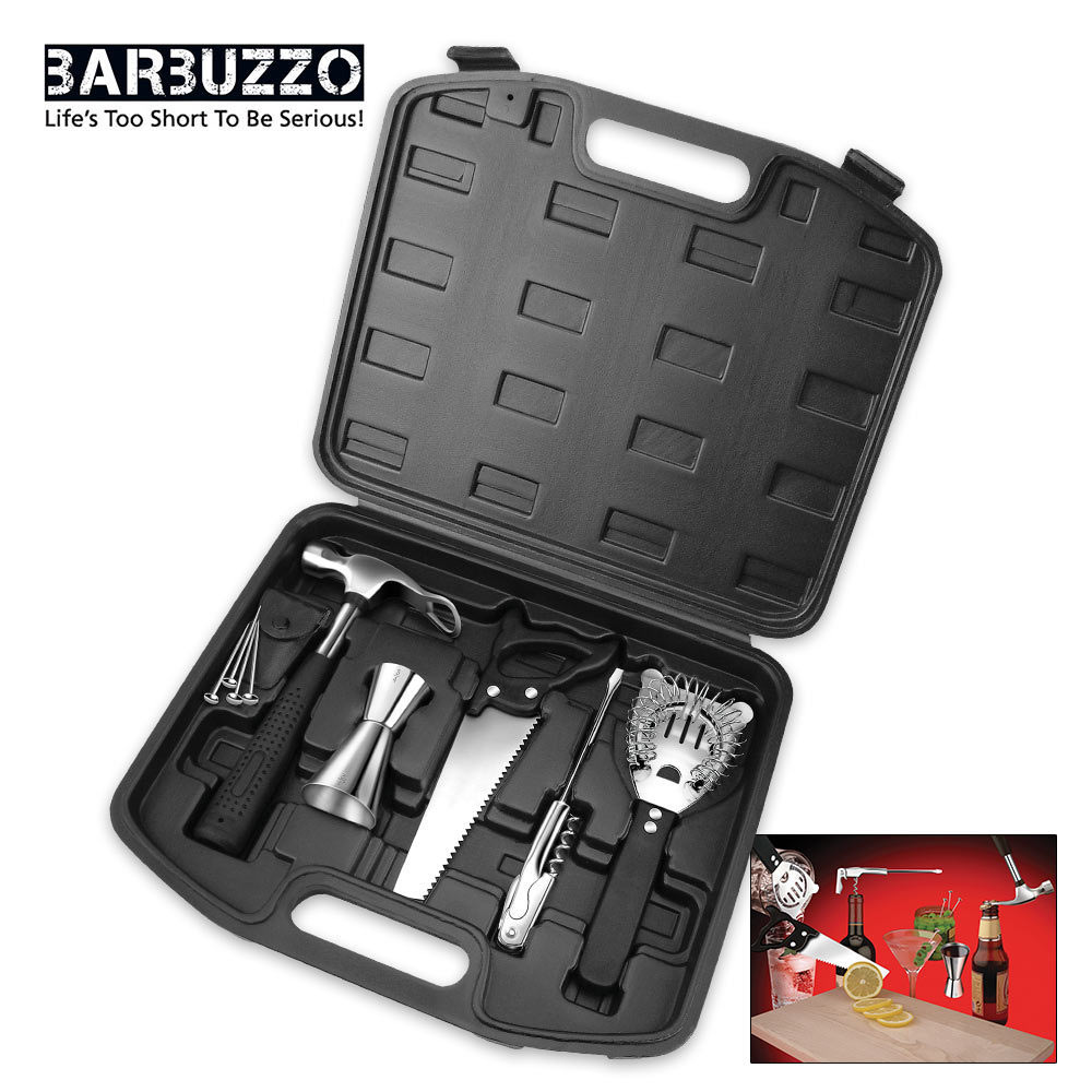 bar tools cocktail set with carry case. Black Bedroom Furniture Sets. Home Design Ideas