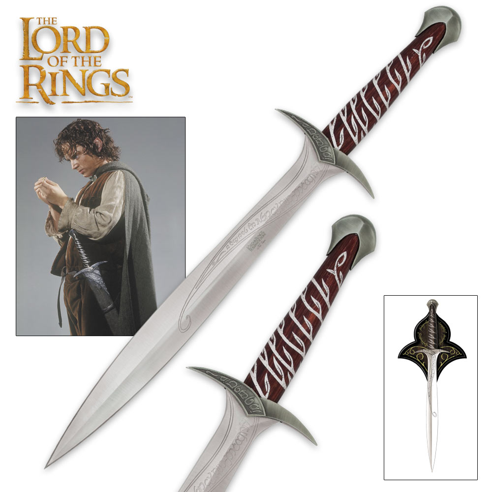 The Lord of the Rings Sting Sword of Frodo Baggins With Wall Plaque -  Engraved With Elven Runes - 22