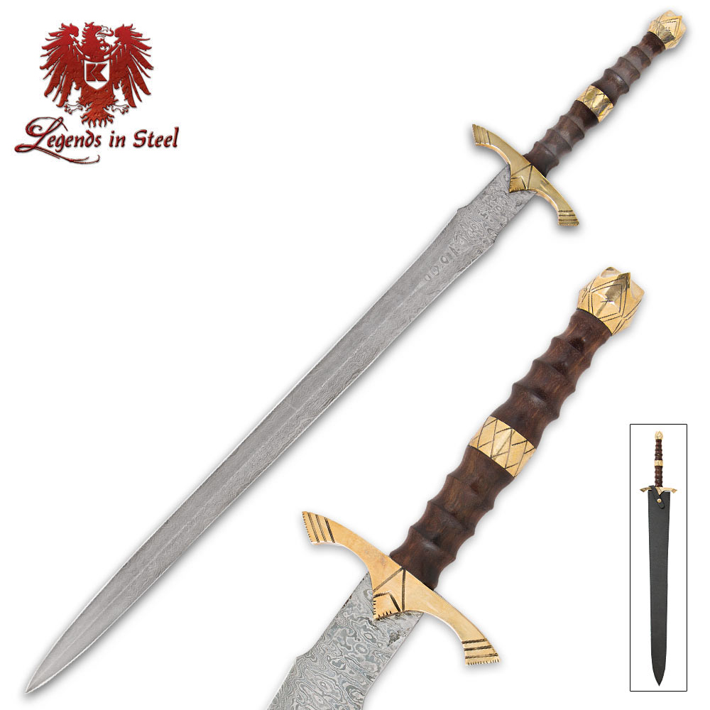 Legends In Steel Brass Heartwood And Damascus Sword Budk Feel Free To Cut The Tip Of Make It More Swords Touch Zoom