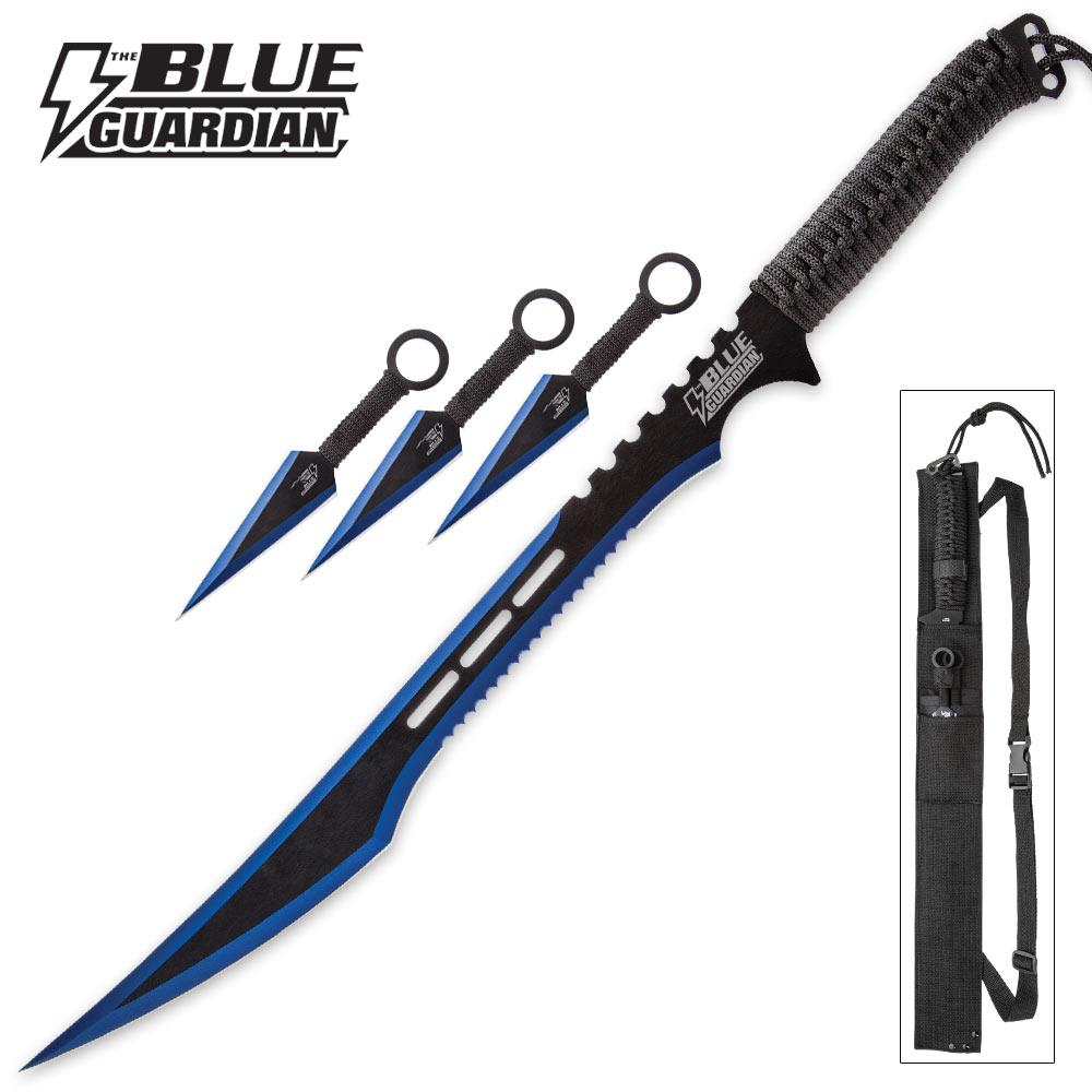 Blue Guardian Ninja Sword And Kunai Throwing Knife Set