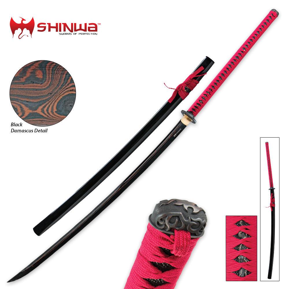 shinwa black damascus odachi sword kennesaw cutlery