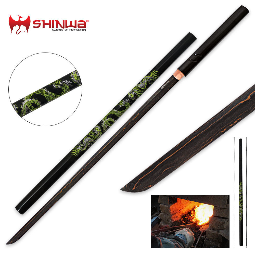 Shinwa Green Dragon Black Damascus Shirasaya Sword Free