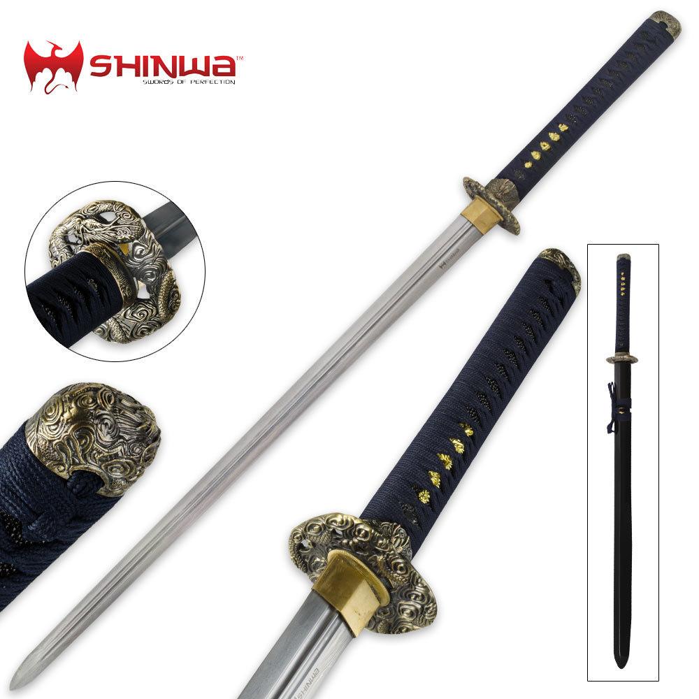 shinwa double edged regal navy blue damascus katana sword