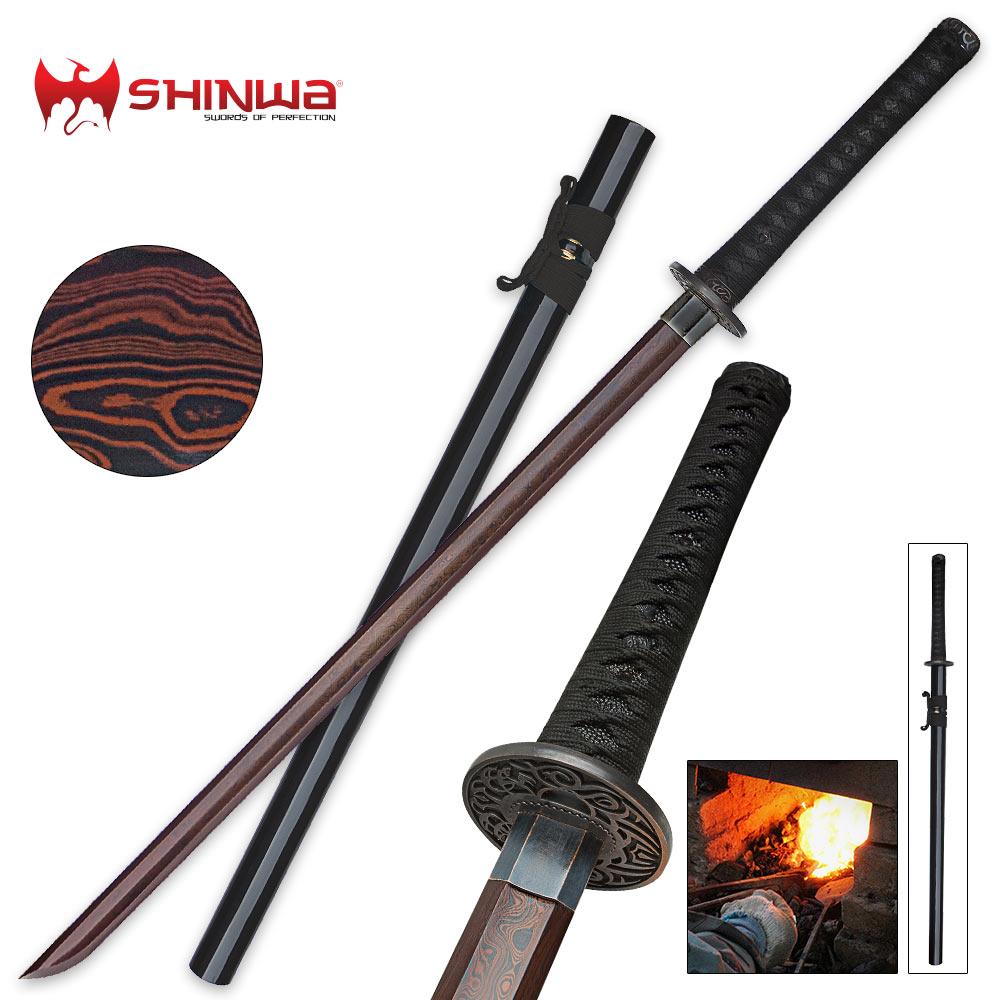 Shinwa Black Emperor Katana Sword Damascus Steel | Cutlery USA