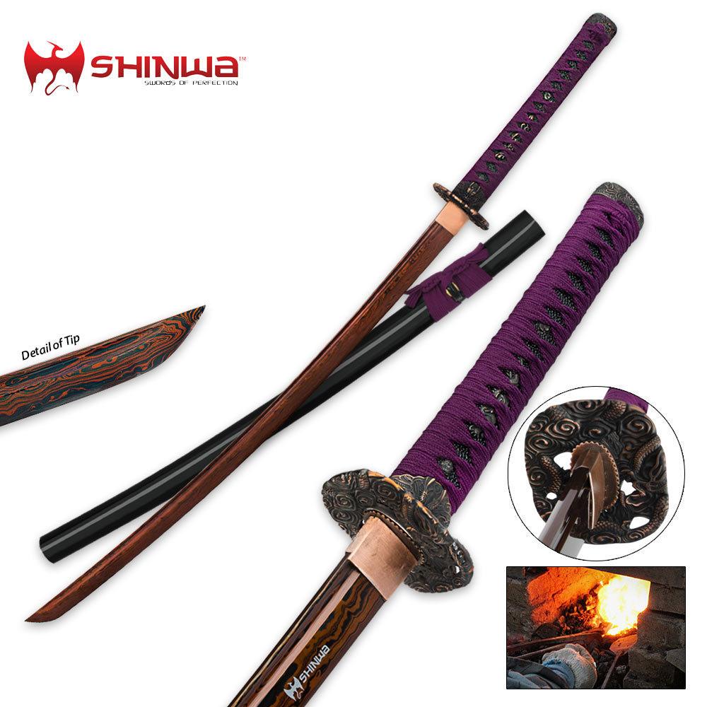 Shinwa Regal Purple Damascus Steel Katana Sword | Kennesaw ...