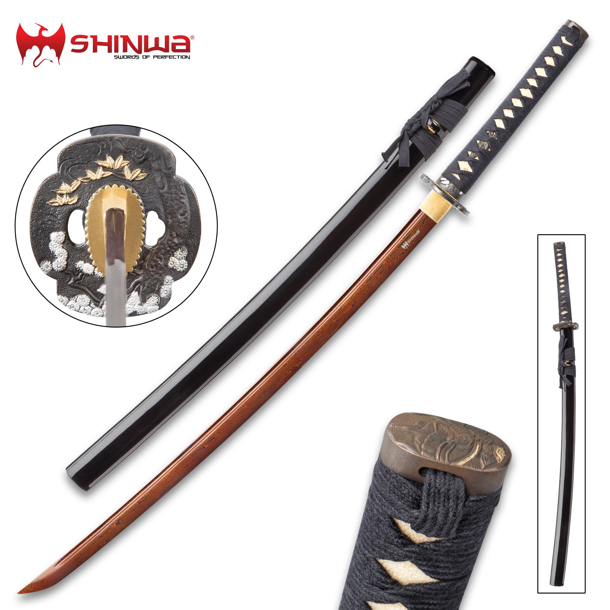 Shinwa Hand Forged Crimson Damascus Steel Katana - Sword ...