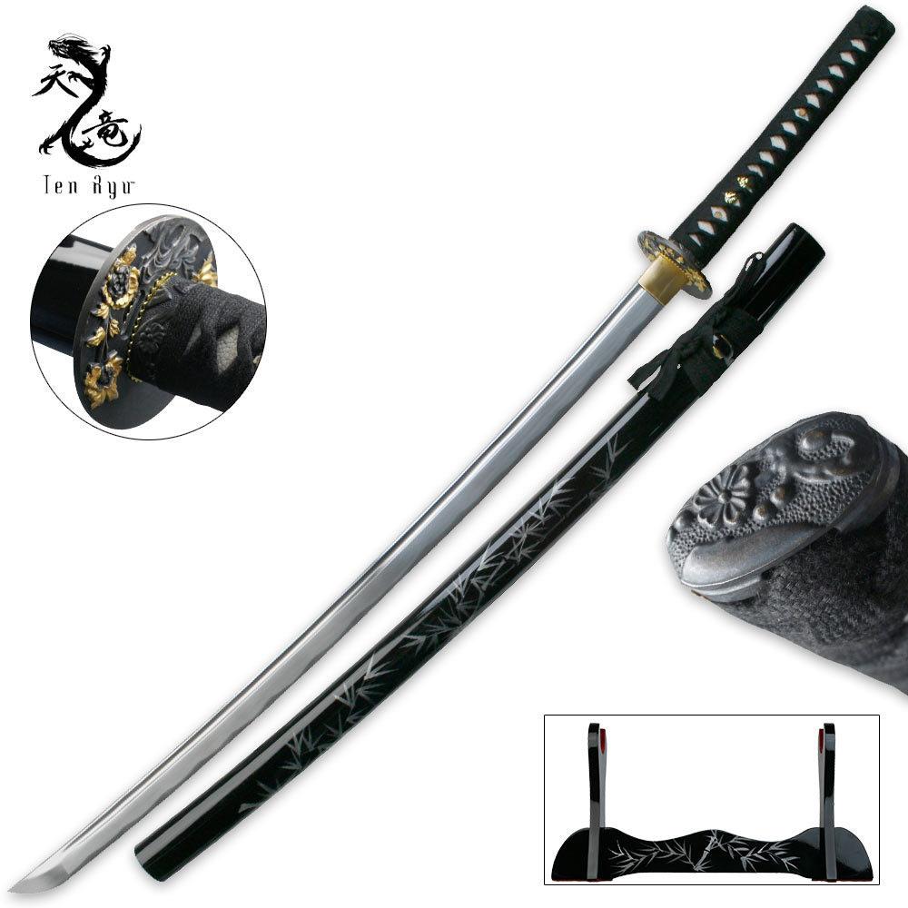Ten Ryu Damascus Steel Dragon Tsuba Katana Sword | BUDK ...