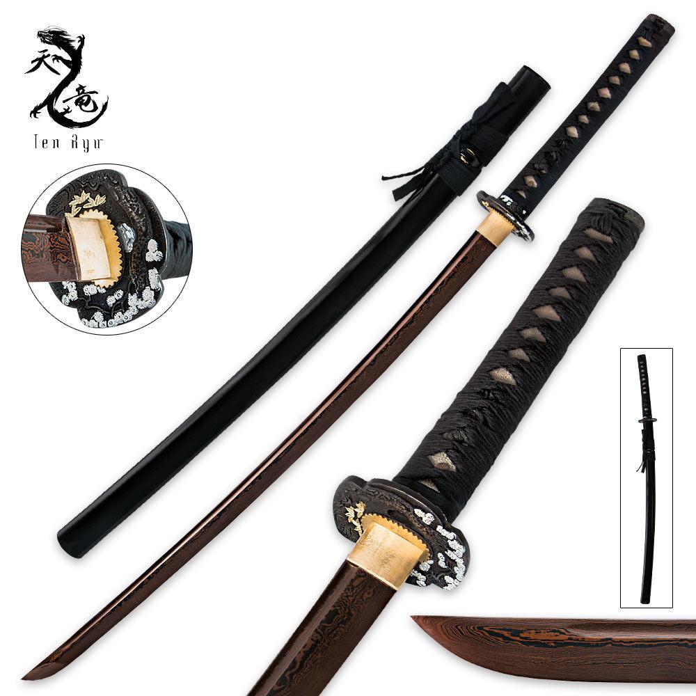 Ten Ryu Hand Forged Damascus Steel Katana Sword With ...