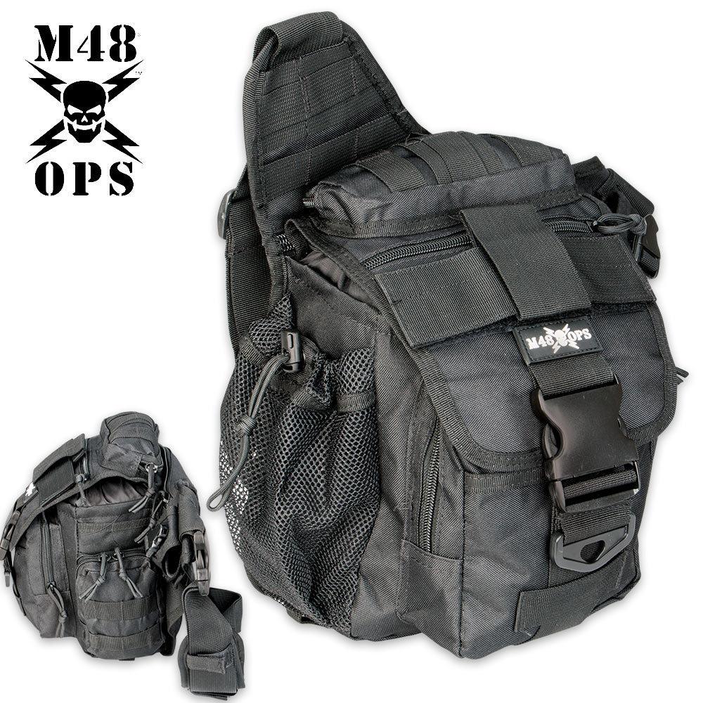 M48 OPS Tactical Waist Sling Bag - Messenger - Black | BUDK.com ...