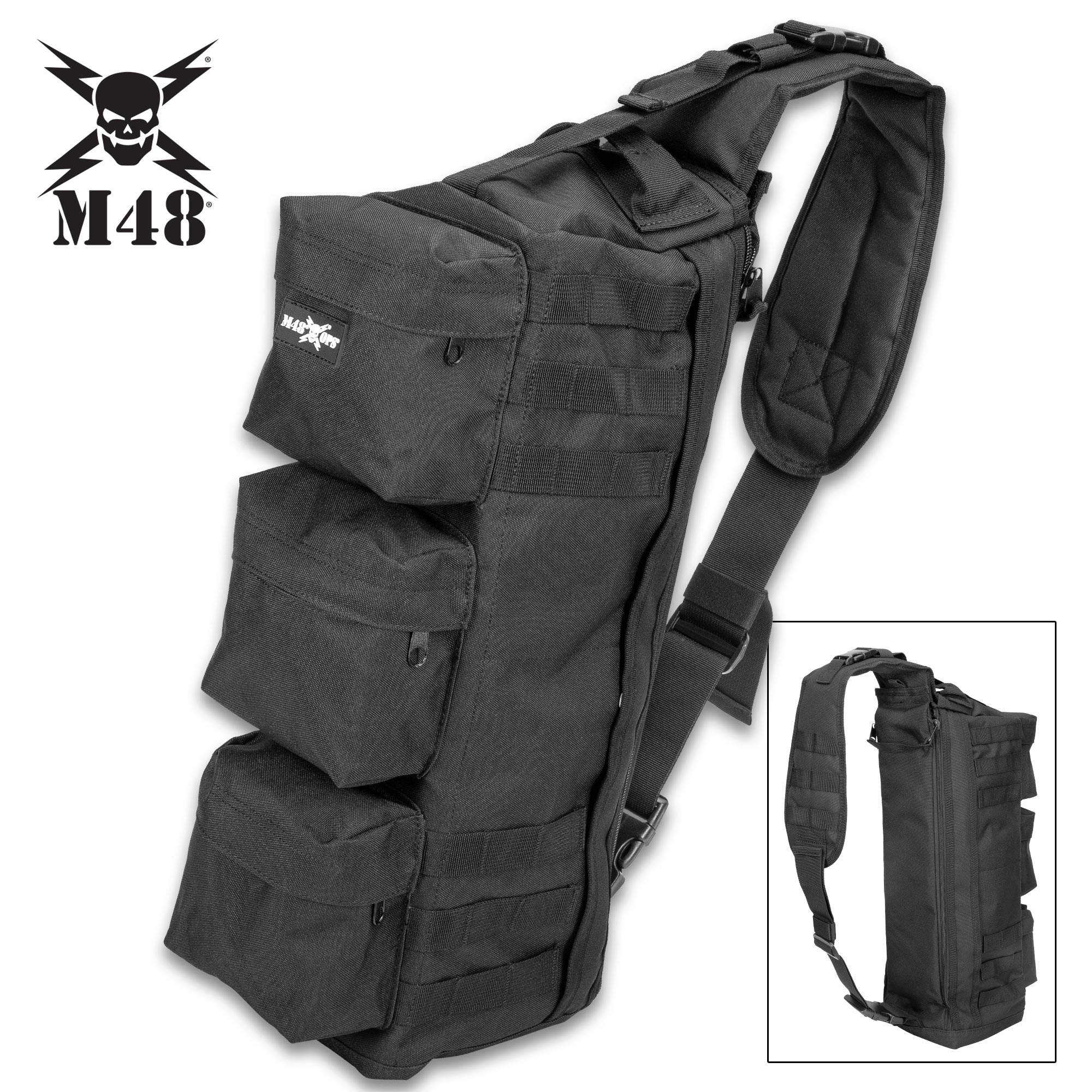 M48 Black Military Style Shoulder Sling Bag - Tough Canvas
