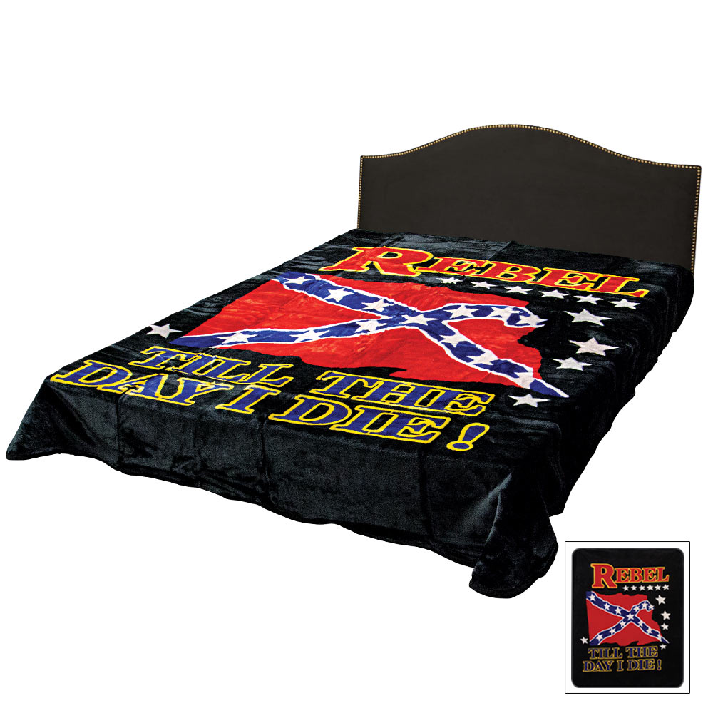 Rebel Flag Till The Day I Die Faux Fur Queen Size Blanket