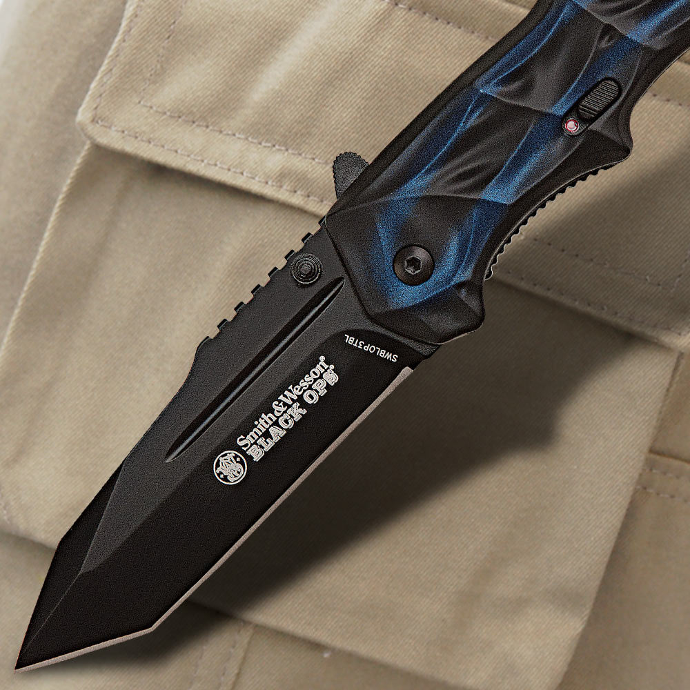 Blue Star Blade Reviews >> Smith & Wesson Black Ops Blue Tanto Tactical Pocket Knife | BUDK.com - Knives & Swords At The ...